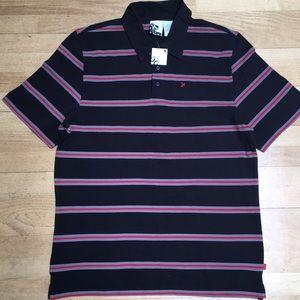 Hurley Black Striped Polo Shirt Short Sleeves XL